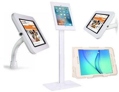 Healthcare Android Touch Screen Tablets 10inch White with Robust Kiosk Floor, Wall or Desk-top Mounted Stands